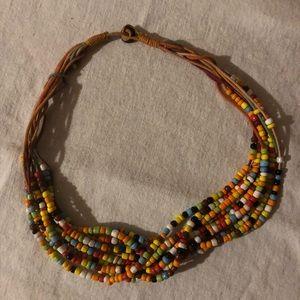 Vintage 1970's Boho Hippie Beaded Choker Necklace